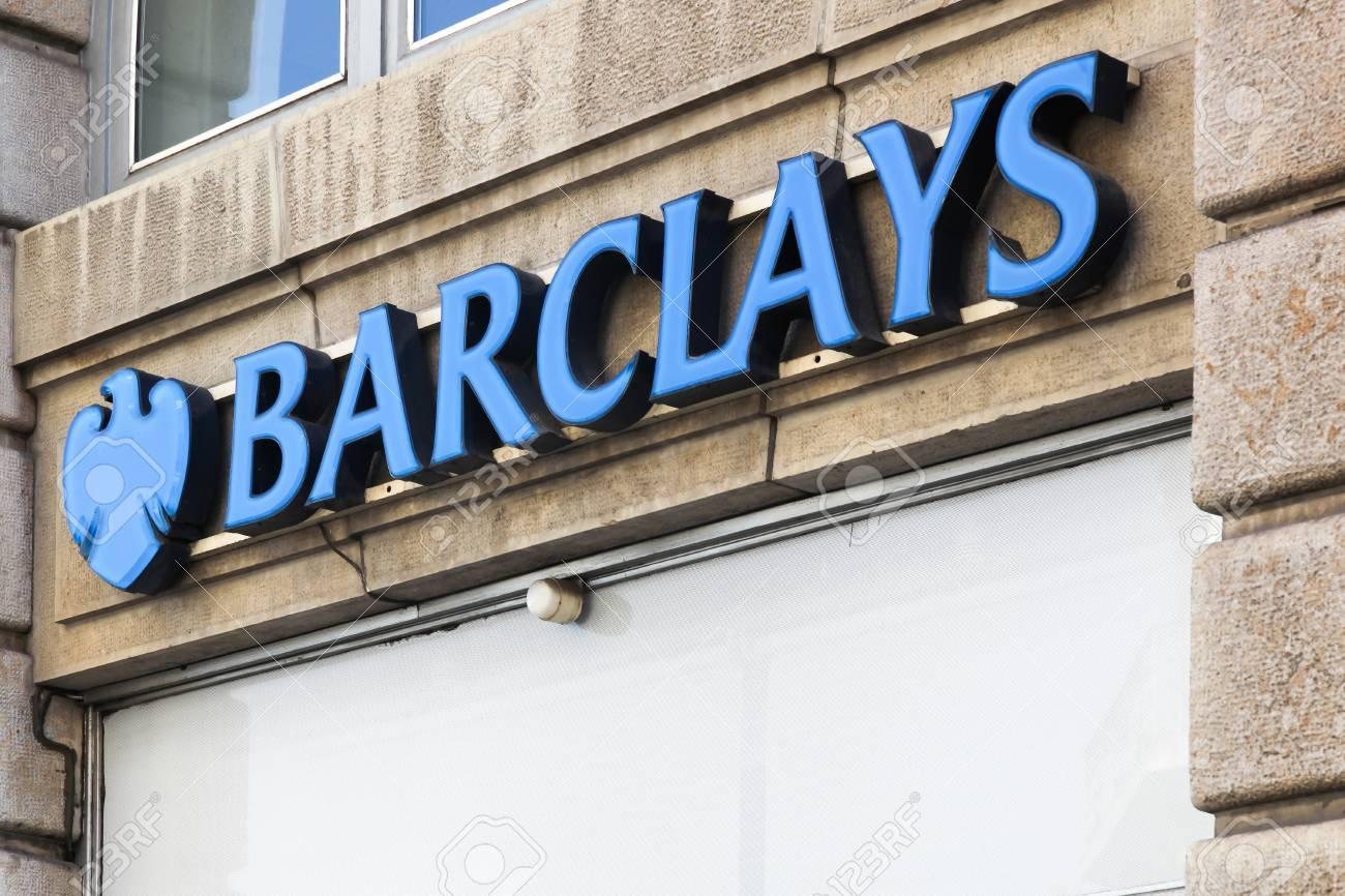Lyon, France - August 15, 2016: Barclays bank logo on a wall
