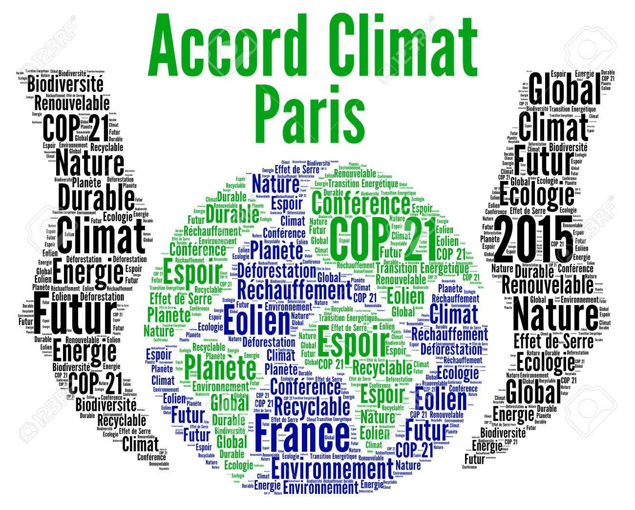 Paris Climate Agreement Word Cloud In French Stock Photo Picture