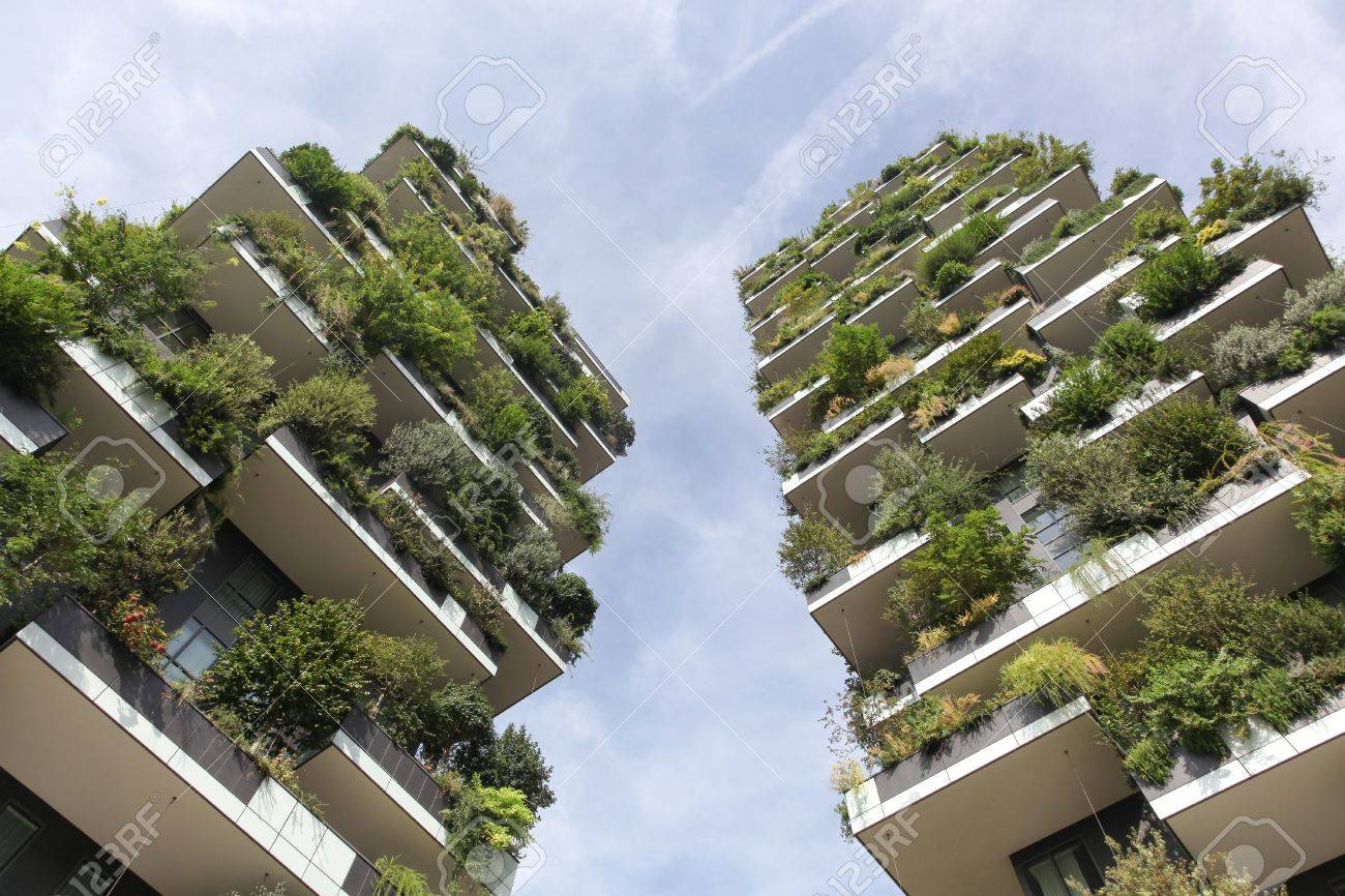 Milan, Italy - September 15, 2016: Vertical forest building called Bosco verticale in Italian, Milan, Italy - 85598278