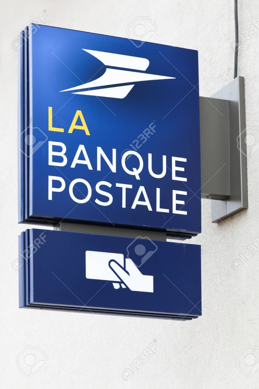 Villefranche France March 18 2018 Banque Postale On A Wall