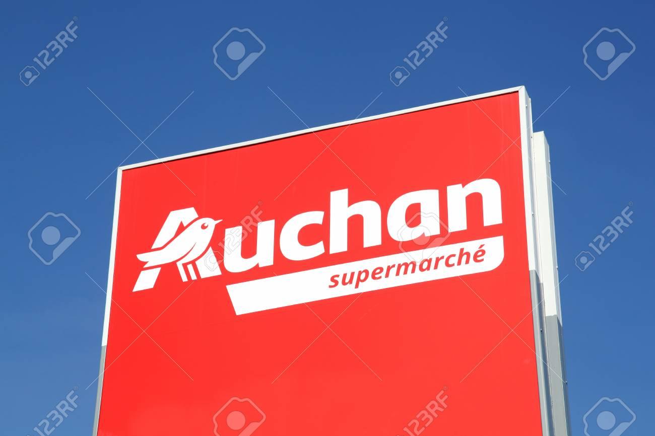 Massieux, France - March 14, 2018: Auchan supermarket logo on