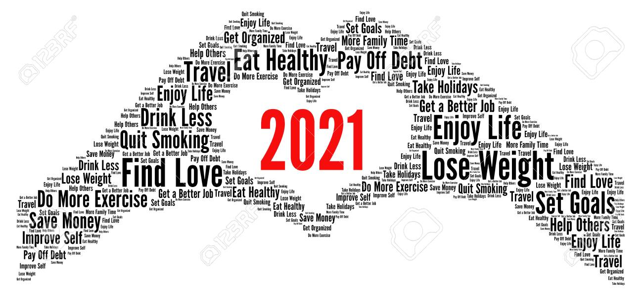 Resolutions 2021 Word Cloud Concept Stock Photo, Picture And Royalty Free Image. Image 156068867.