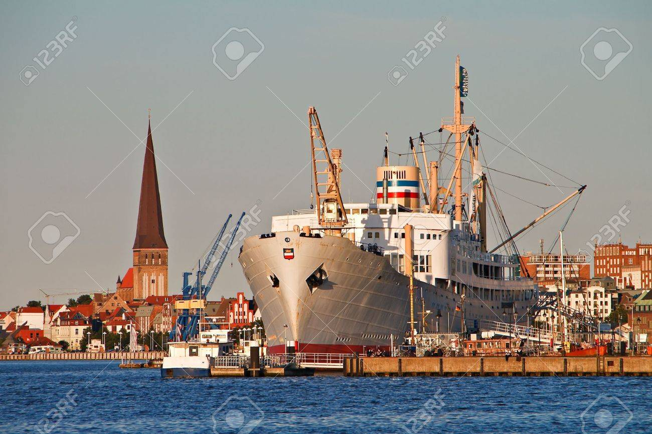 View to the city port of Rostock. - 6375683