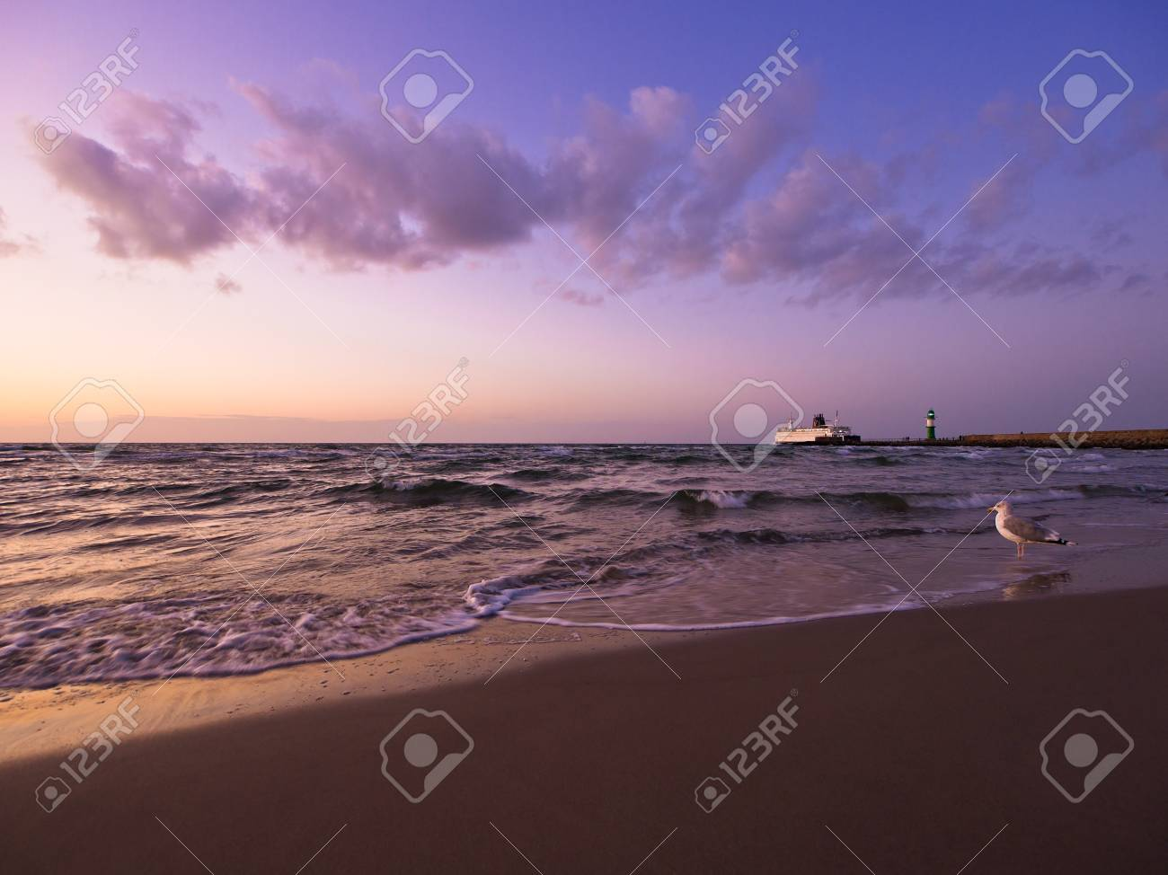 Evening on shore of the Baltic Sea in Germany. - 10791539