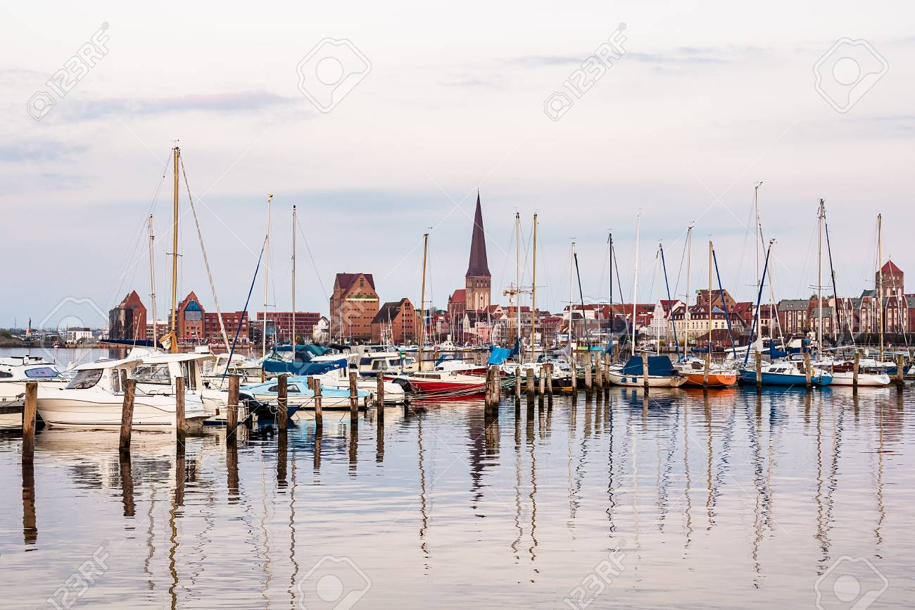View over the river Warnow to Rostock, Germany. - 94060897