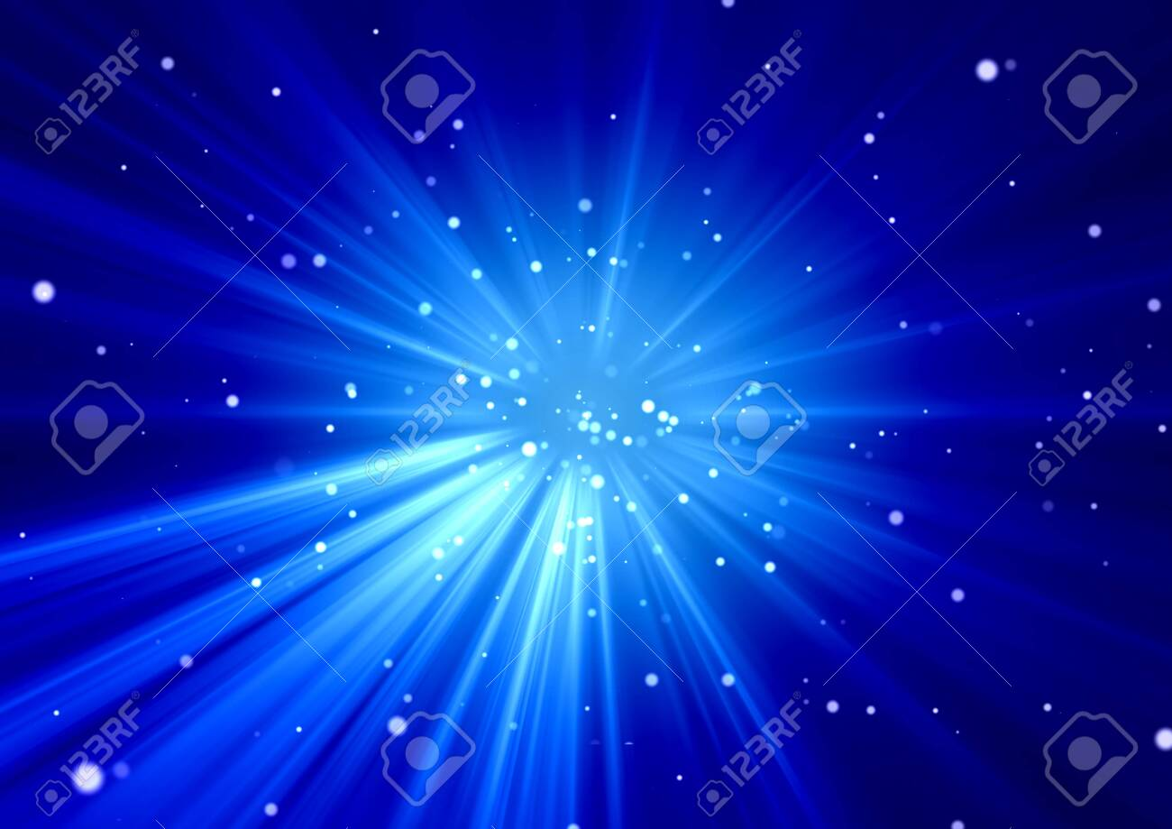 Background image of abstract blue light and particles on a concentration line / Stars, Universe, Explosion - 148976089