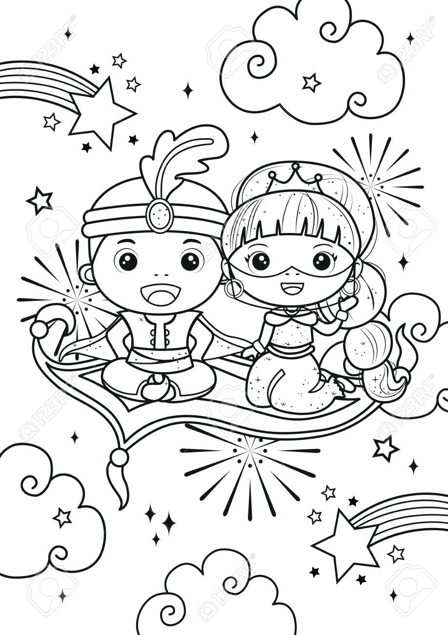 Arabian Prince And Princess Coloring Pages Kids Coloring Book Royalty Free Cliparts Vectors And Stock Illustration Image 145943679