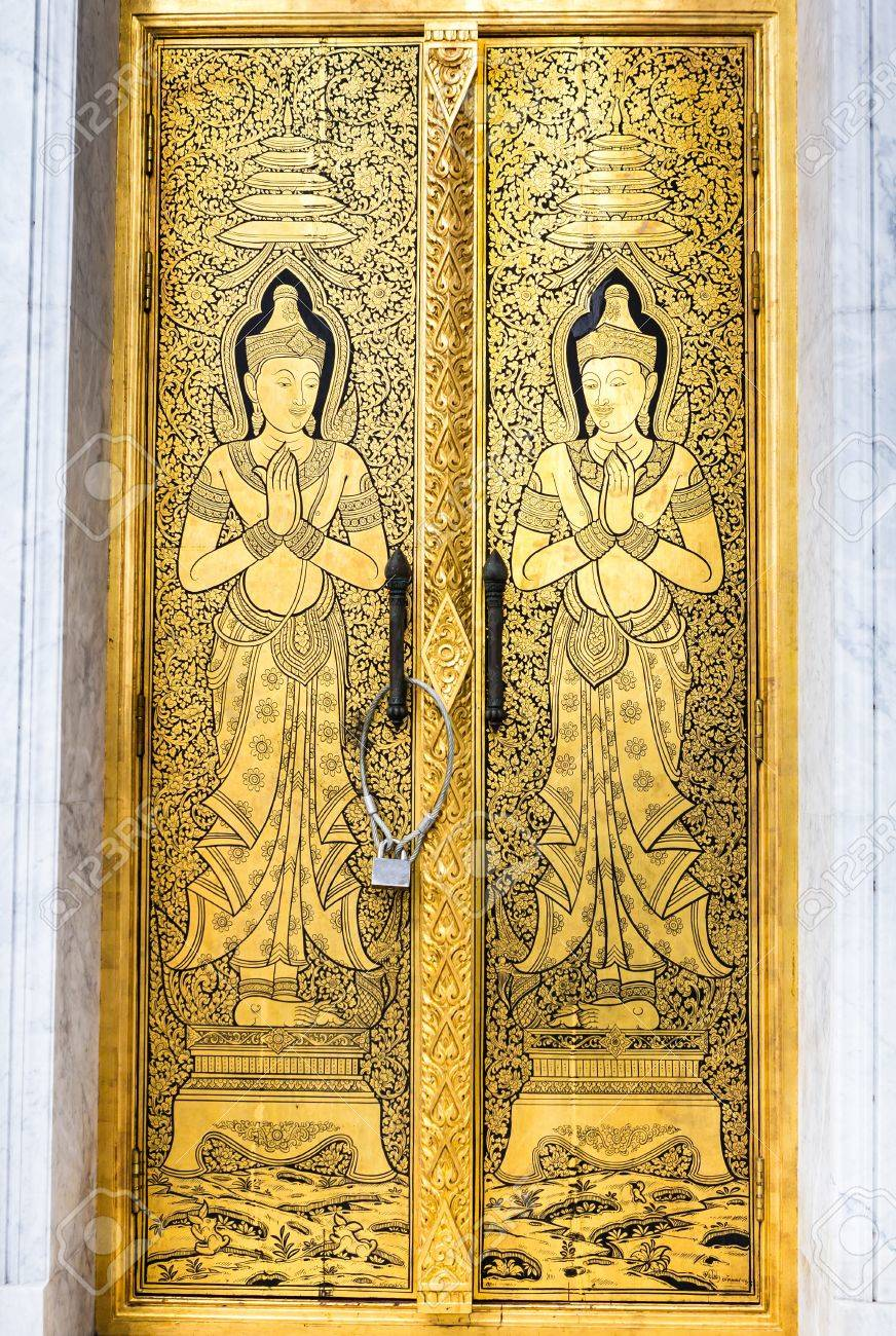Lai thai gold door of temple Thailand Stock Photo - 14369862 & Lai Thai Gold Door Of Temple Thailand Stock Photo Picture And ...