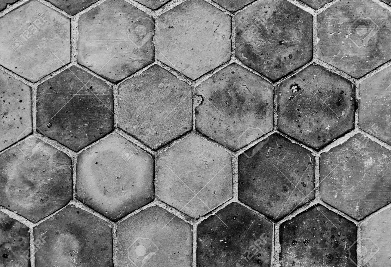 The closeup background image of hexagonal clay tiles - 13174626