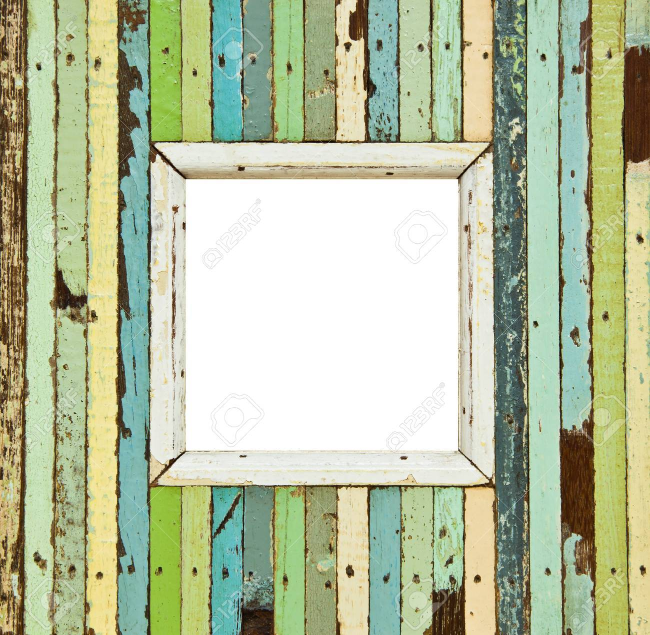 The isolated image of the colorful wooden picture frame - 13174595