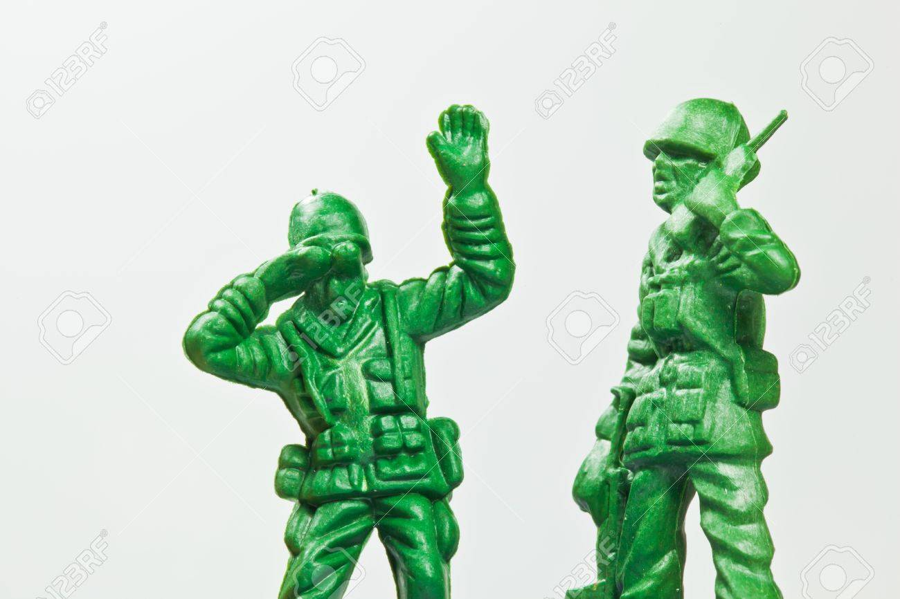 The closeup isolated image of the green toy soldier - 14075502