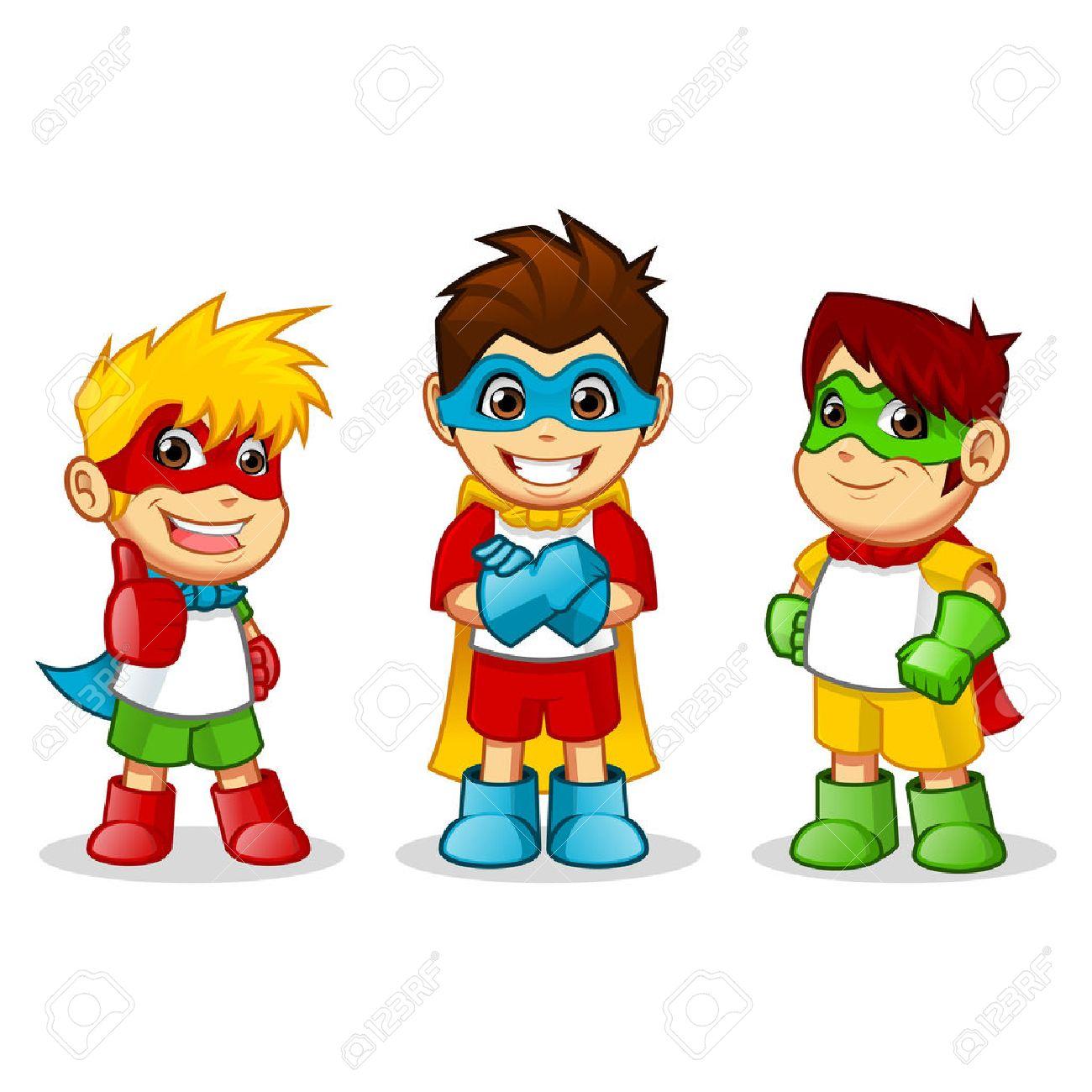 High Quality Kid Super Heroes Vector Cartoon Illustration Royalty ...