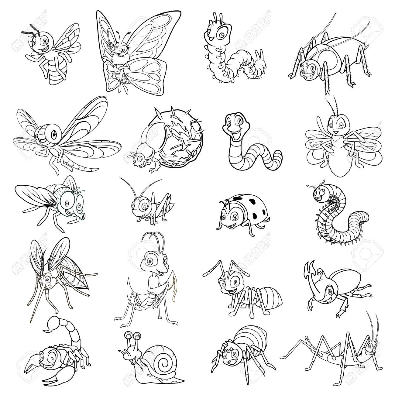 Conjunto De Línea Carácter Insectos De Dibujos Animados Ilustración
