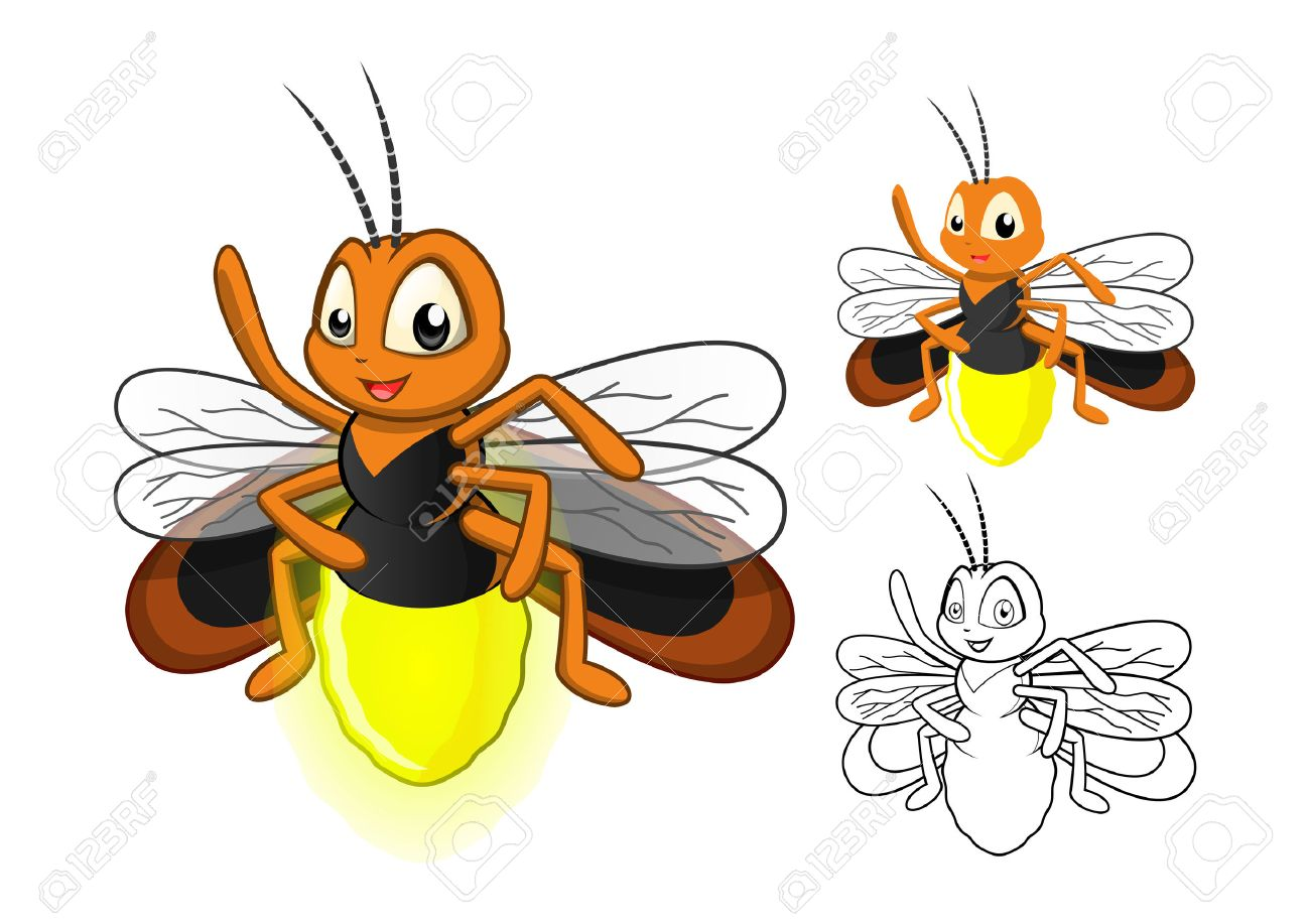 Line Art Bee : High quality detailed firefly cartoon character with flat design
