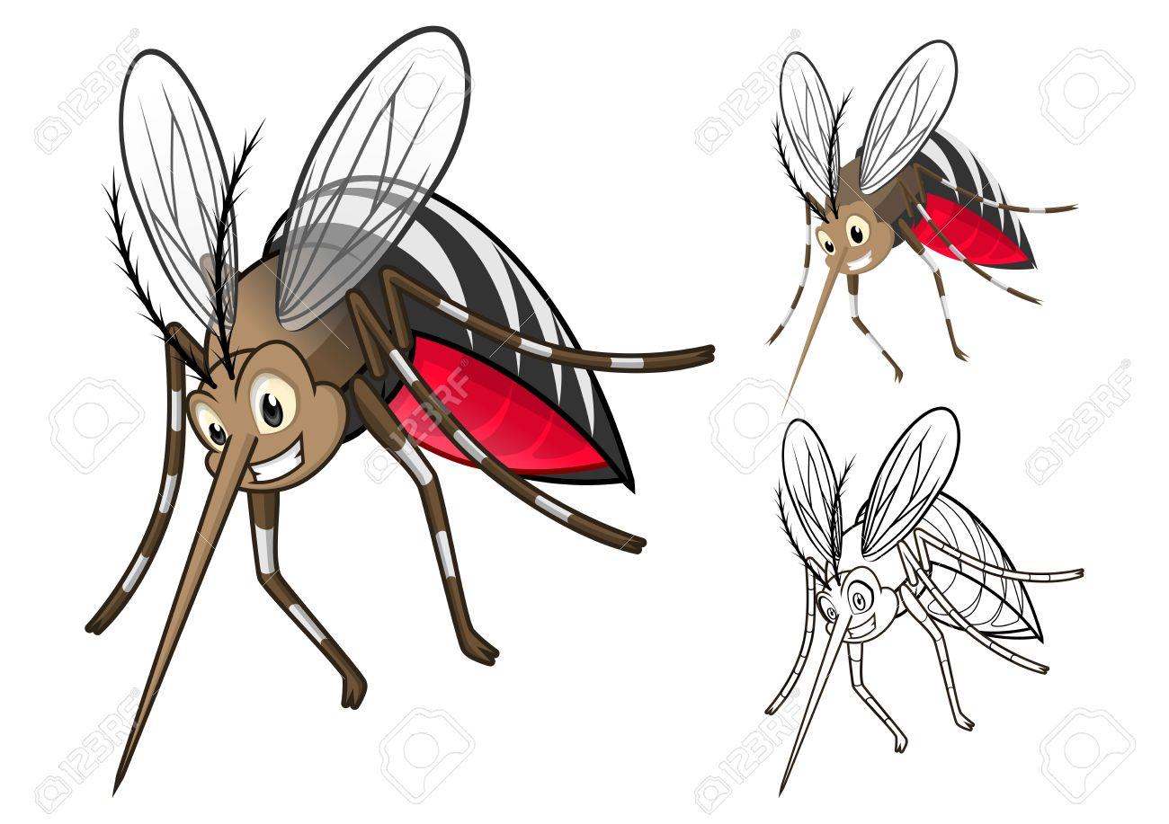 Hohe Qualität Detaillierte Mücken-Cartoon-Figur Mit Flachem Aufbau ...