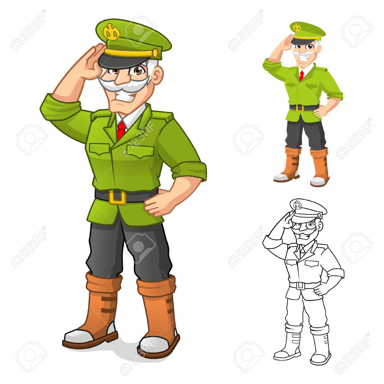 敬礼の手ポーズの高品質一般軍隊アニメ キャラクター フラットなデザイン
