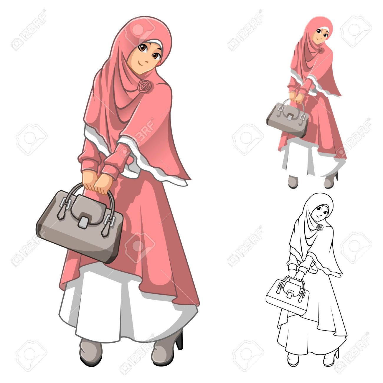 Musulmanes Moda Mujer Llevaba Velo Rosado O Bufanda Y Del Vestido ...