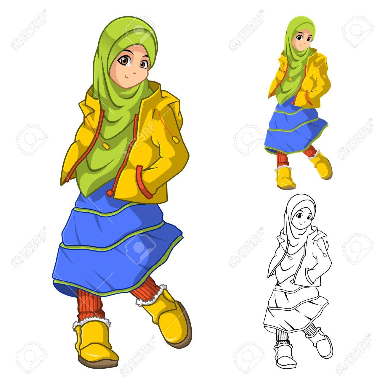 Muslim Girl Fashion Wearing Green Veil Or Scarf With Yellow Jacket