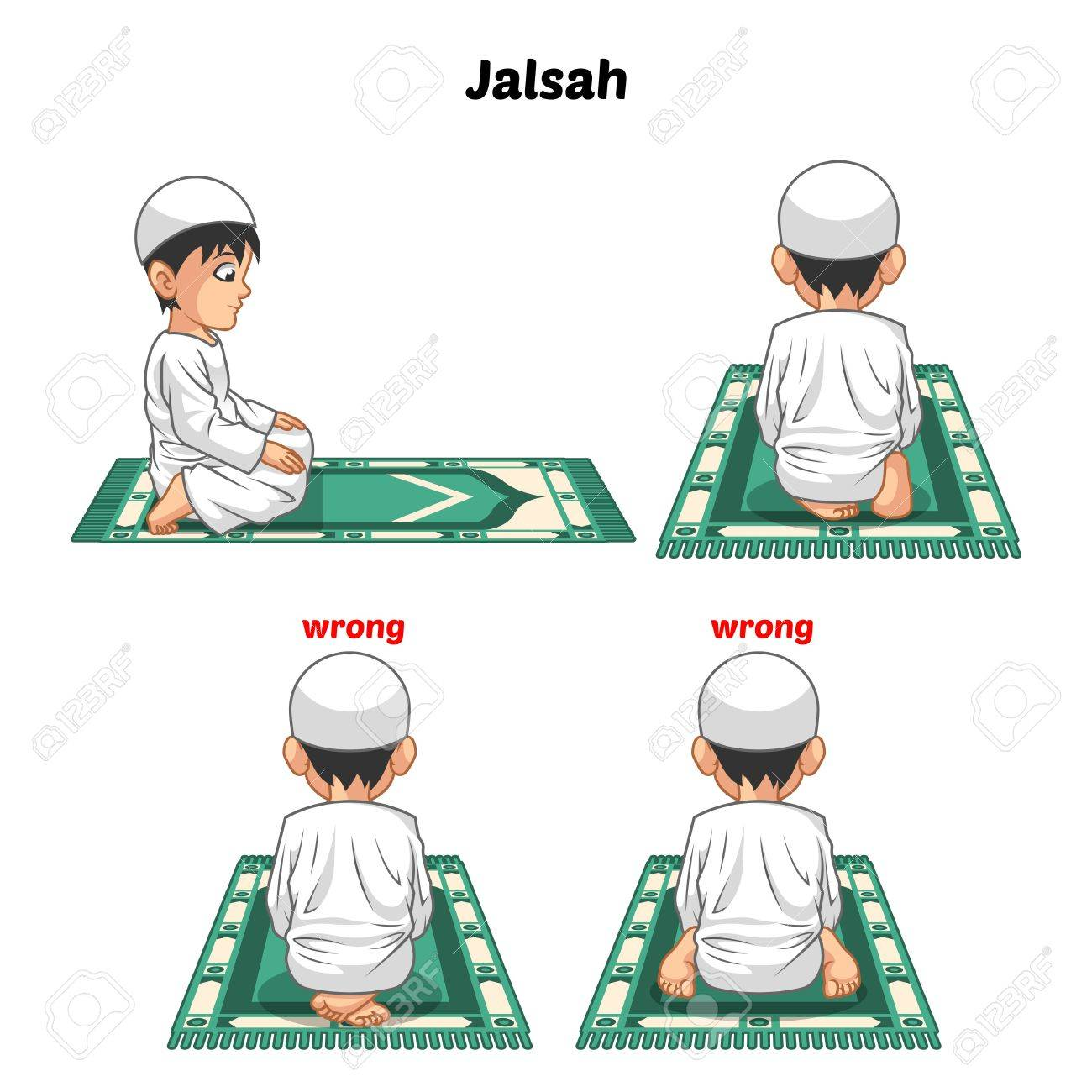 Muslim Prayer Position Guide Step By Step Perform By Boy Sitting Between The Two Prostrating And