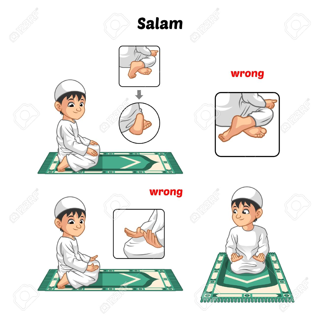 muslim prayer position guide step by step perform by boy salutation