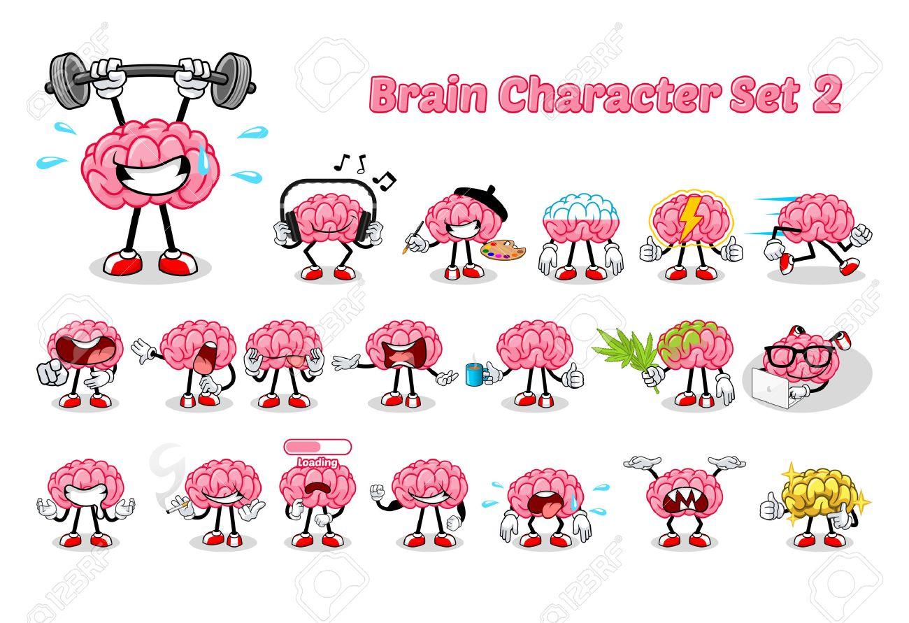 Set of Brain Cartoon Character Two Vector Illustration - 55686159