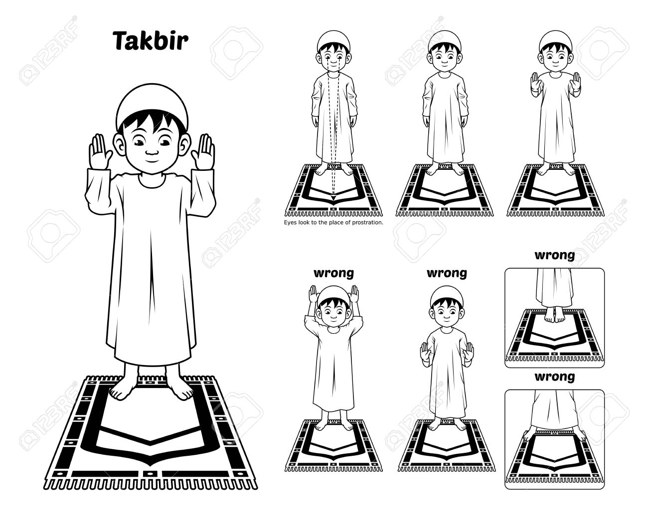 Muslim Prayer Position Guide Step By Step Perform By Boy Standing And Raising The Hands With