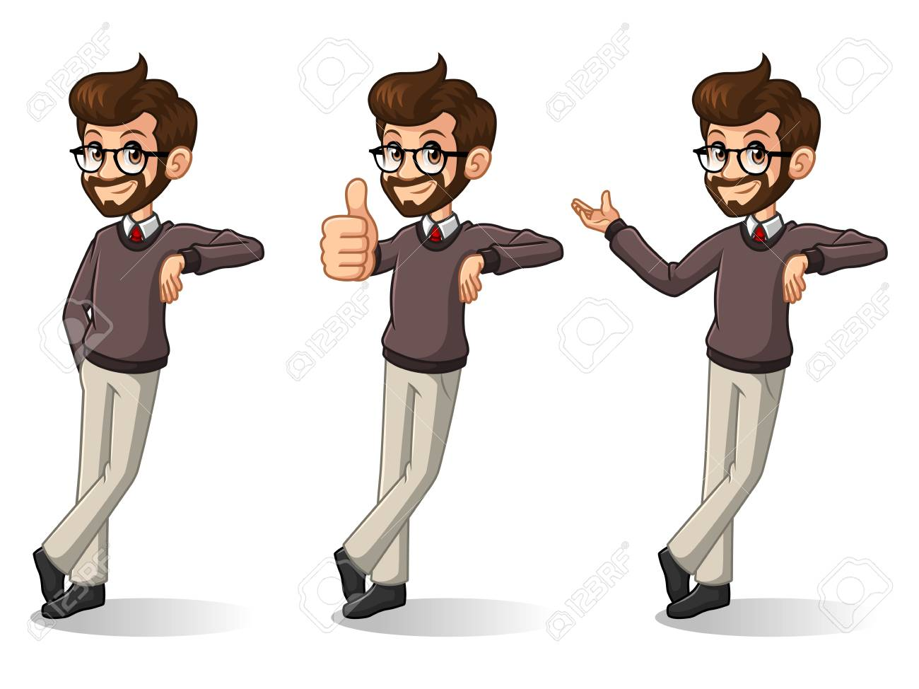 Set of hipster businessman cartoon character design stand leaning against, isolated against white background. - 90863044