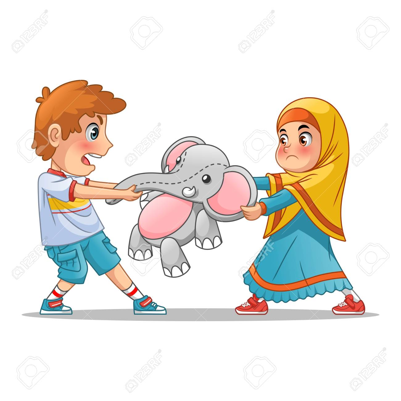 muslim girl and boy fighting over a doll cartoon character design