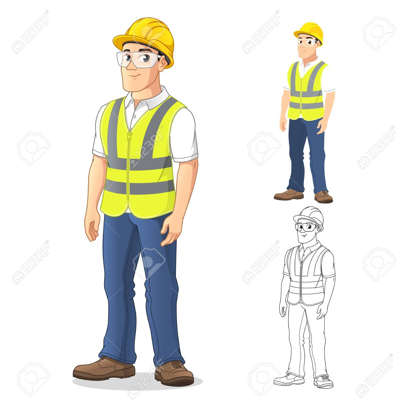 Man with Safety Gear Standing Straight, with His Arms by His Side, Cartoon Character Design, Including Flat and Line Art Designs, Vector Illustration, in Isolated White Background. - 128646044