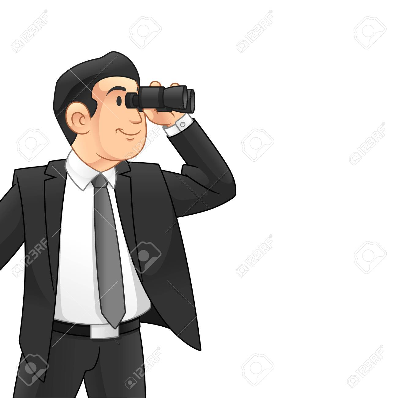 Businessman with Binoculars, Business Vision Concept, Cartoon Vector Illustration Design, in Isolated White Background. - 136886110