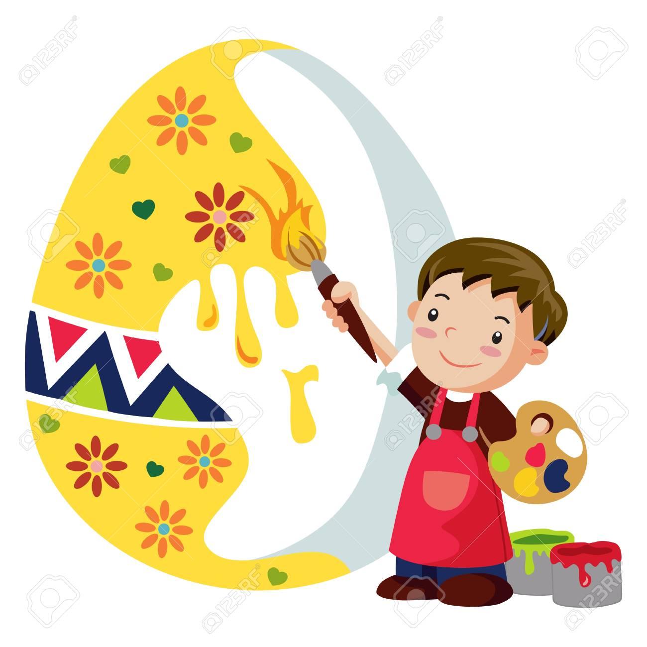 A boy adorns an easter egg Stock Vector - 18542996