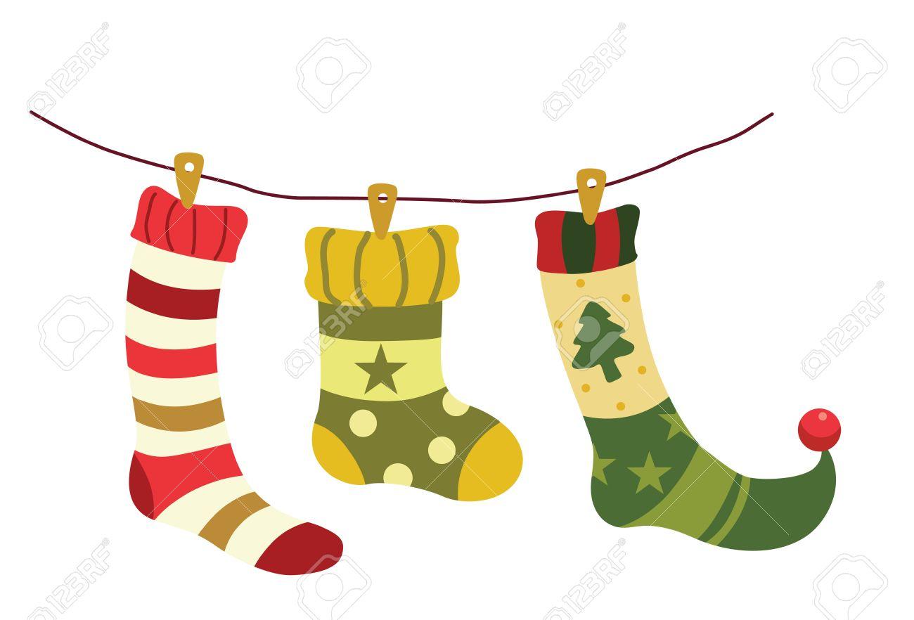 Vektor-Illustration Von Weihnachten Socken Hängen An Einem Draht ...
