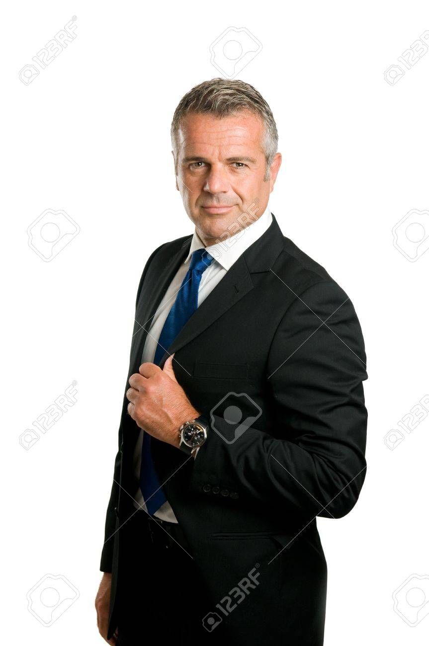 Mature businessman looking at camera with satisfied smile isolated on white background Stock Photo - 7889360