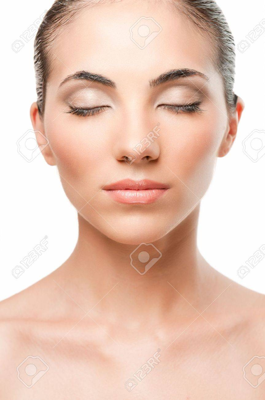 Perfect beautiful woman relaxing with close eyes, professional beauty makeup and retouching Stock Photo - 7889431