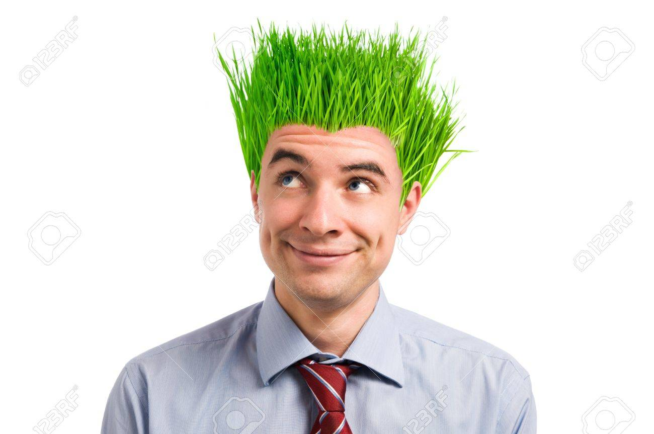 Happy young businessman looking up at his new vivid green grass hair. Green business concept Stock Photo - 7968249