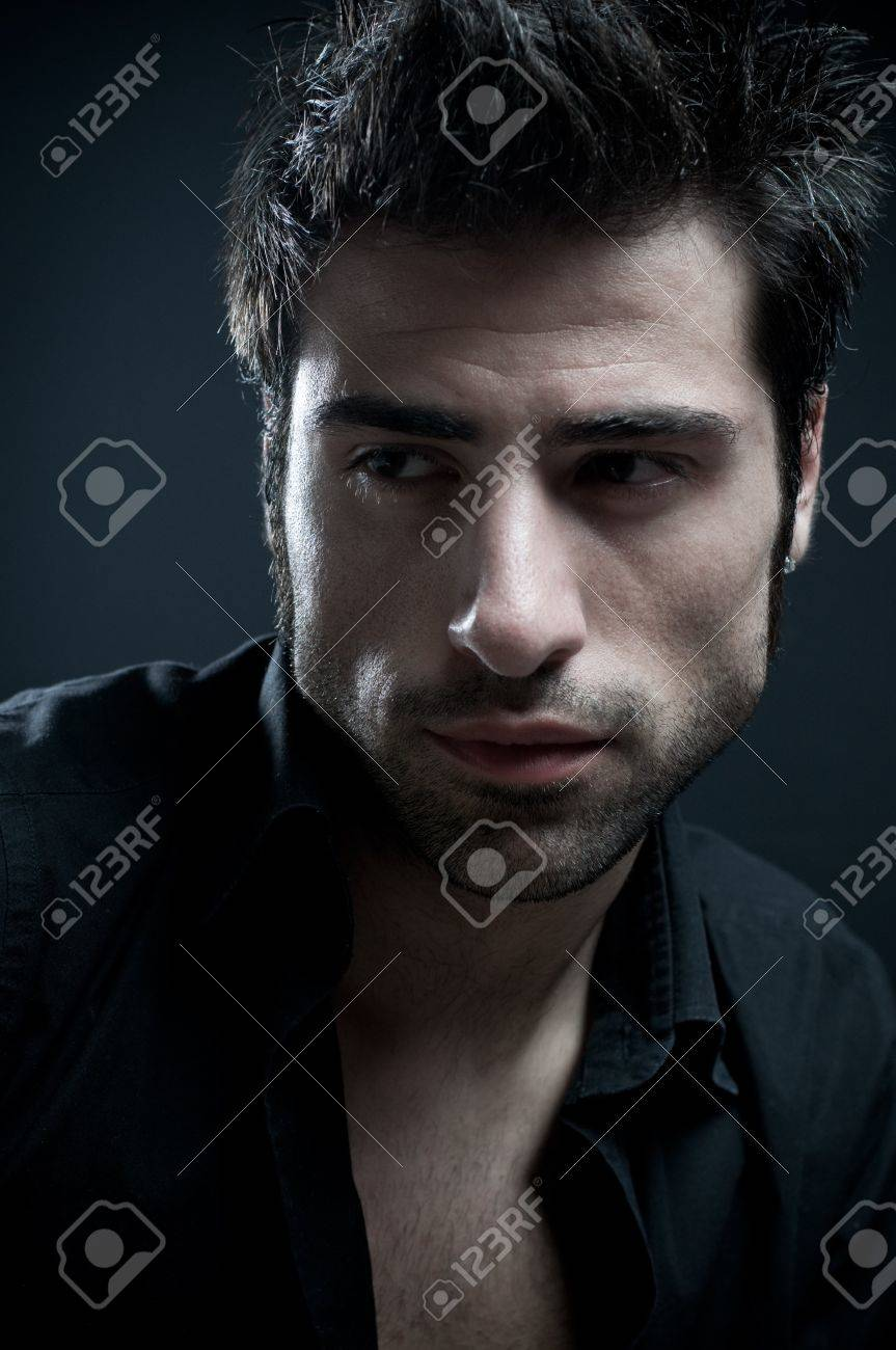 Handsome latin stylish man looking away. Fine art portrait Stock Photo - 7968405