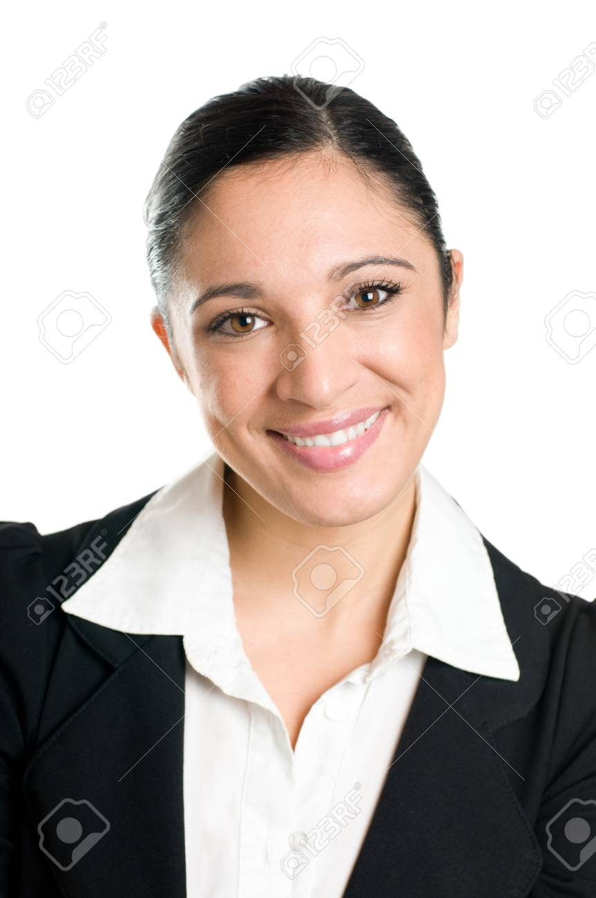 Beautiful business woman smiling and  looking at camera isolated on white background Stock Photo - 8235186