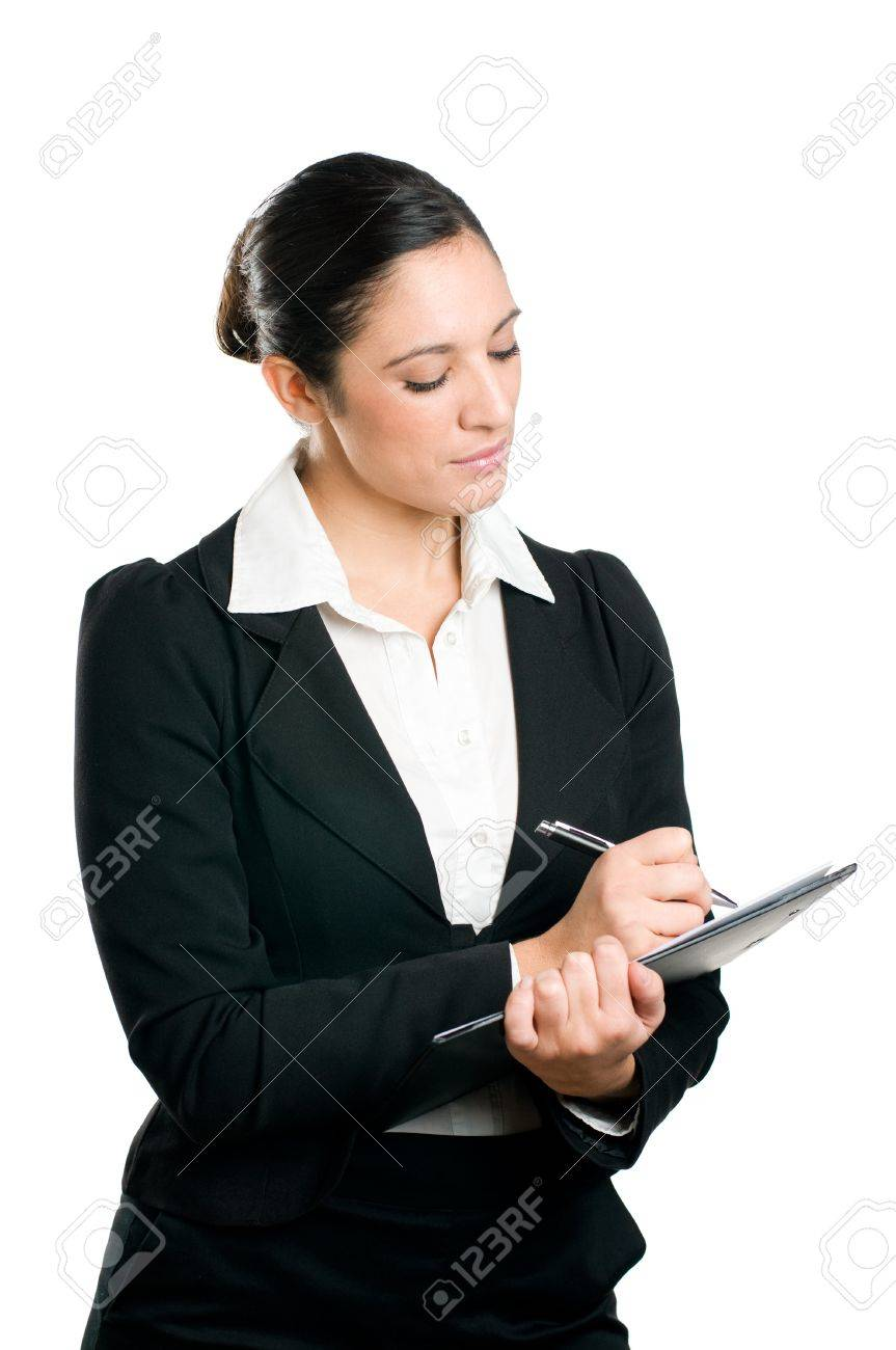 Beautiful business woman taking notes on her clipboard isolated on white background Stock Photo - 8235112