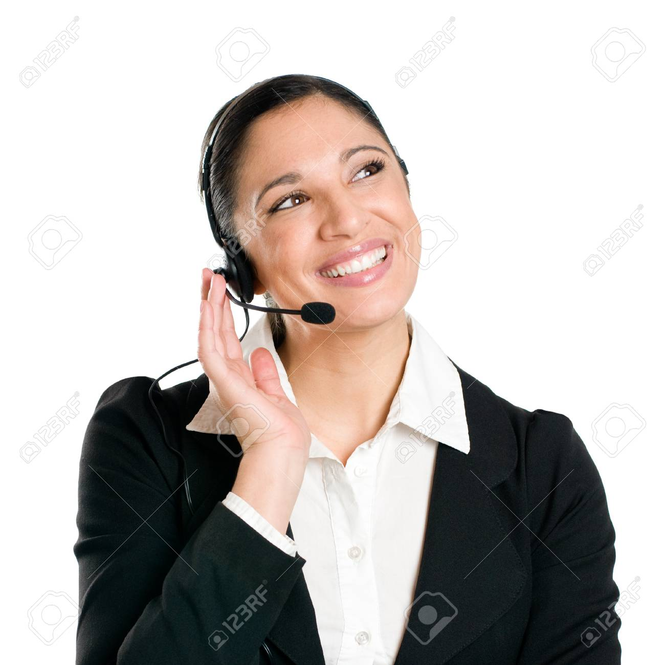 Young woman phone operator with headset at call center isolated on white background Stock Photo - 8234791