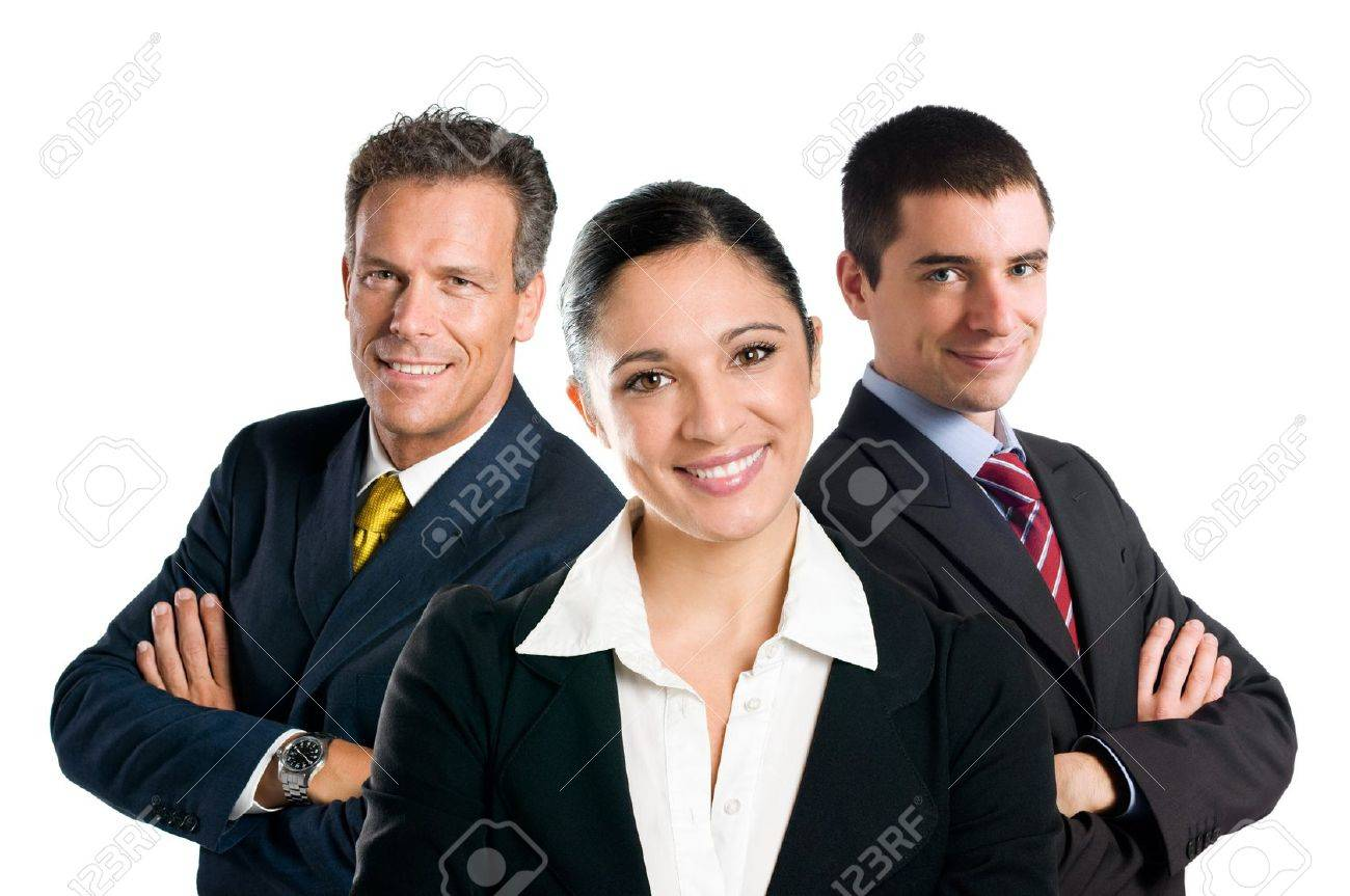 Multi aged happy business team with woman and men isolated on white background Stock Photo - 8235522