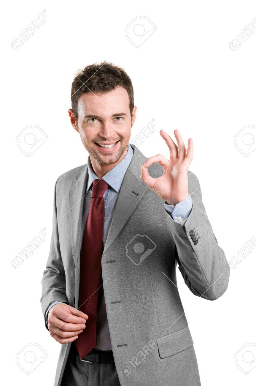 Happy satisfied business man with okay hand sign isolated on white background Stock Photo - 8236117