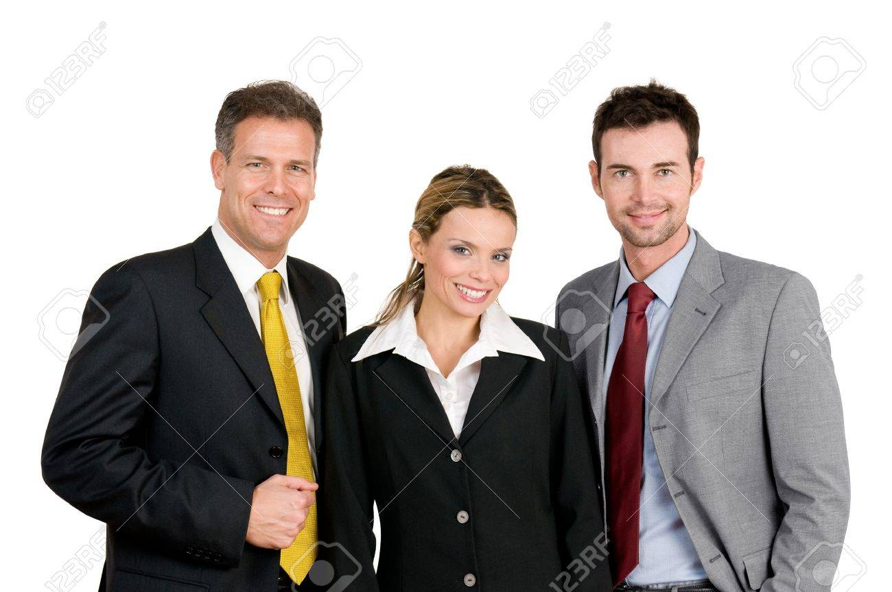 Smiling happy business team standing and looking at camera isolated on white background Stock Photo - 8236112