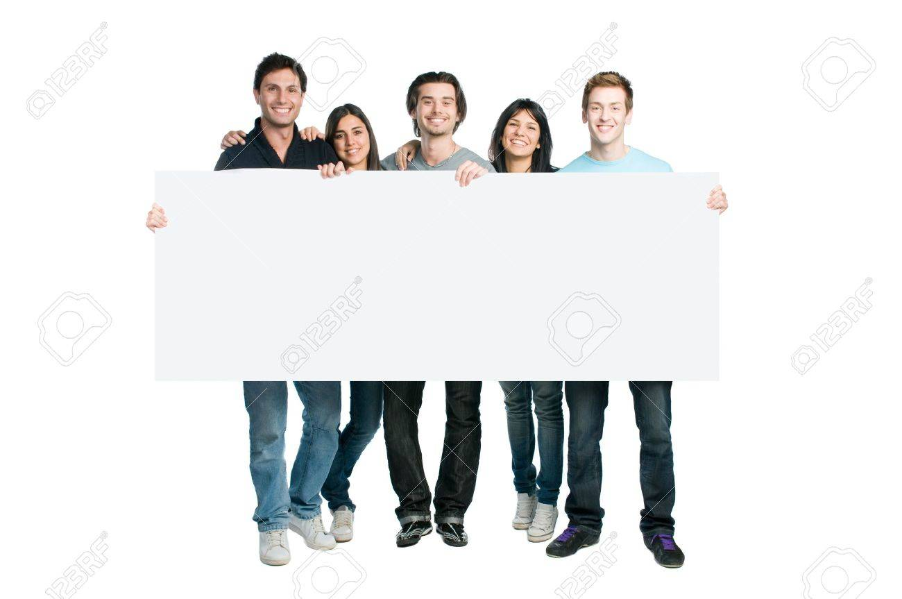 Happy young group of people standing together and holding a blank sign for your text, isolated on white background Stock Photo - 8235612