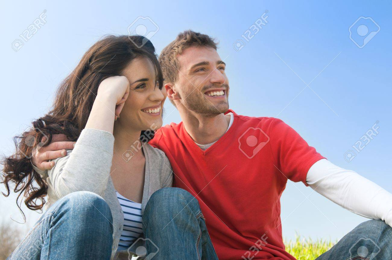 Happy smiling couple looking together at their future Stock Photo - 9677729