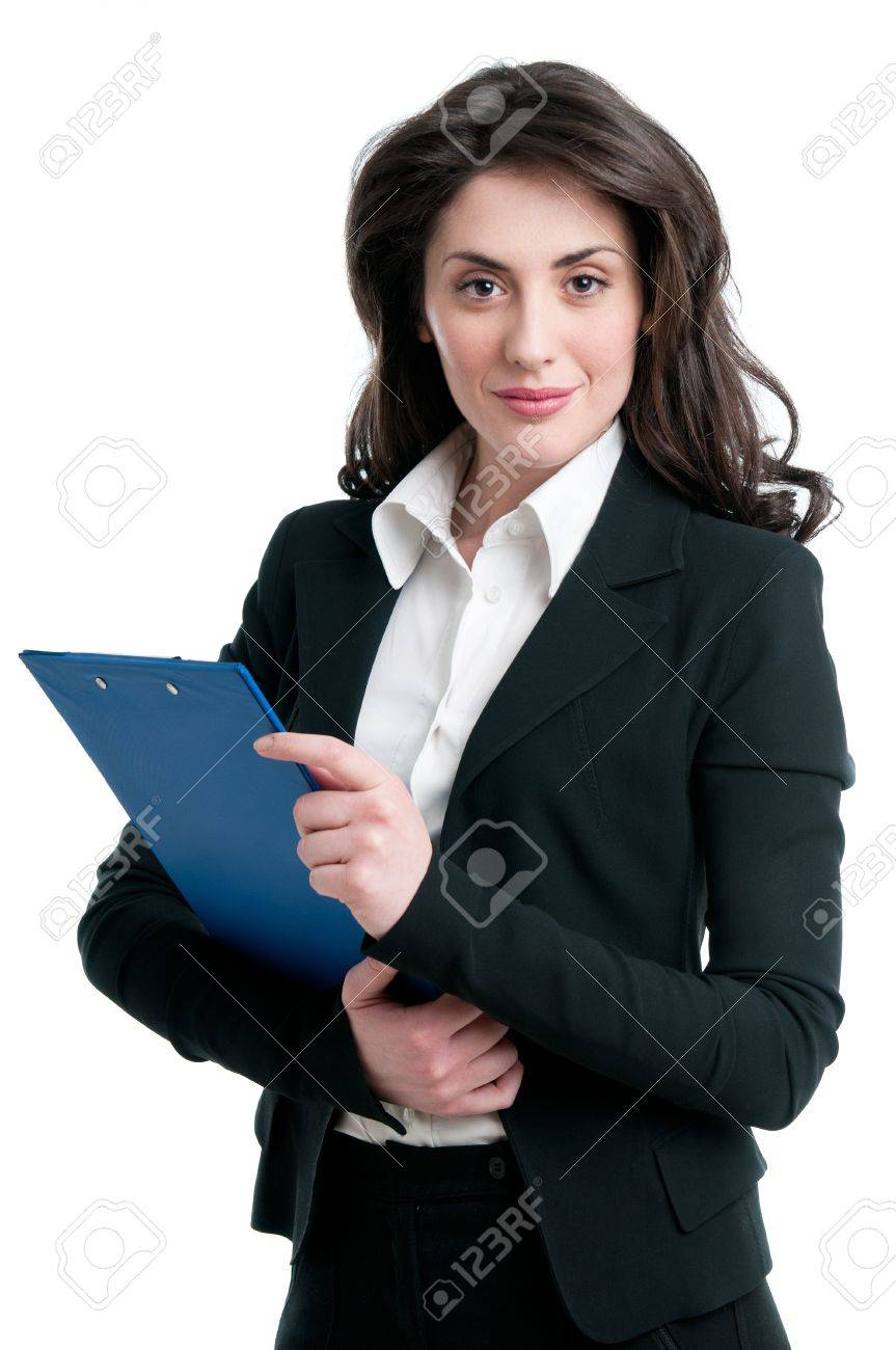 Smiling business woman holding document on clipboard isolated on white background Stock Photo - 9677687