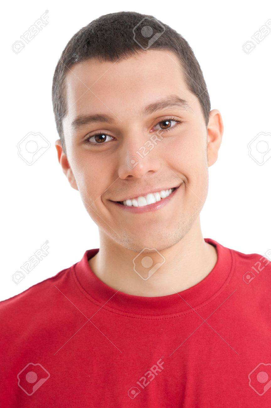 Portrait of happy smiling young guy isolated on white background Stock Photo - 9765420