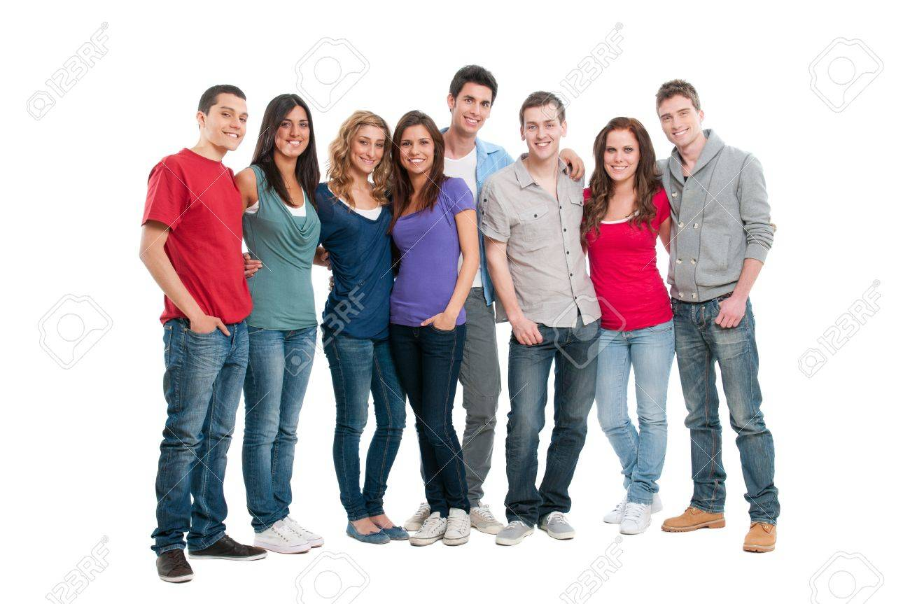 Happy smiling young group of friends standing together isolated on white background Stock Photo - 9765479