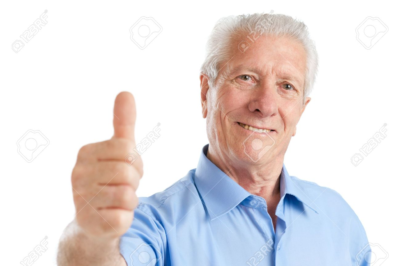 Happy satisfied senior aged man showing thumb up isolated on white background Stock Photo - 10562919