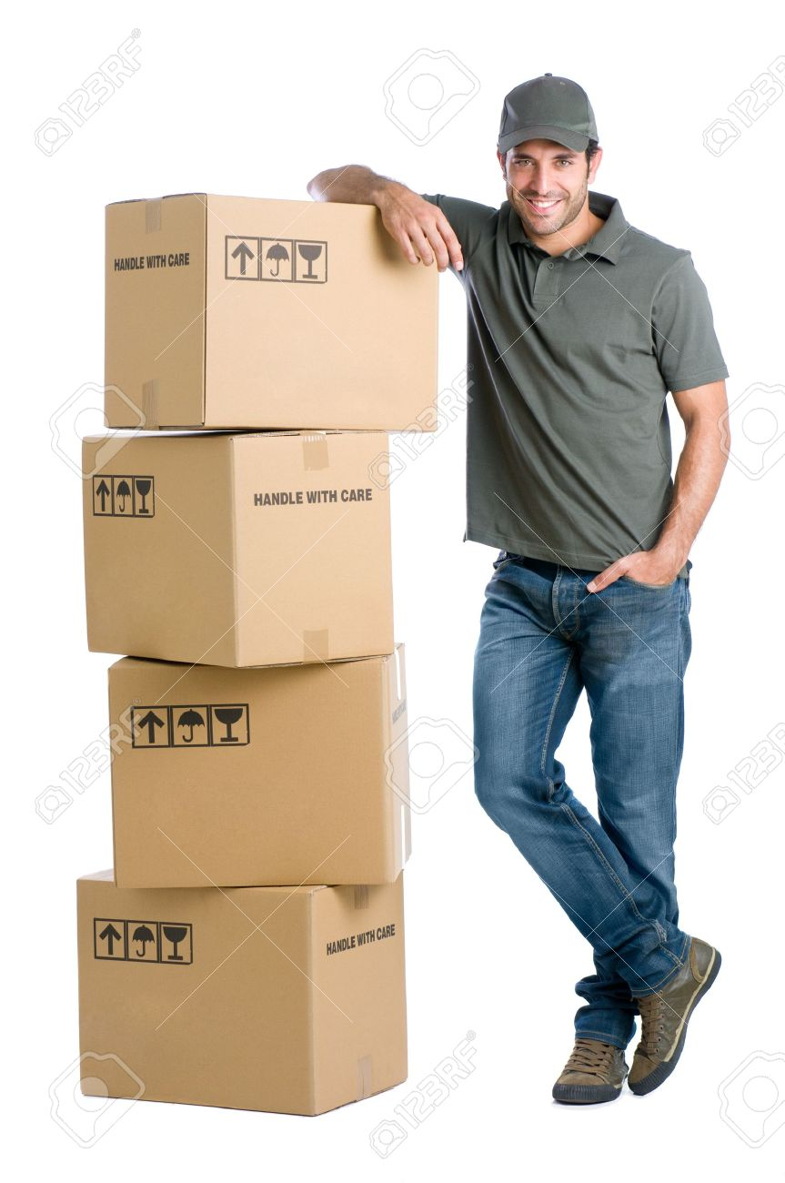 Satisfied and proud delivery man leaning on a stack of boxes isolated on white background Stock Photo - 11742923