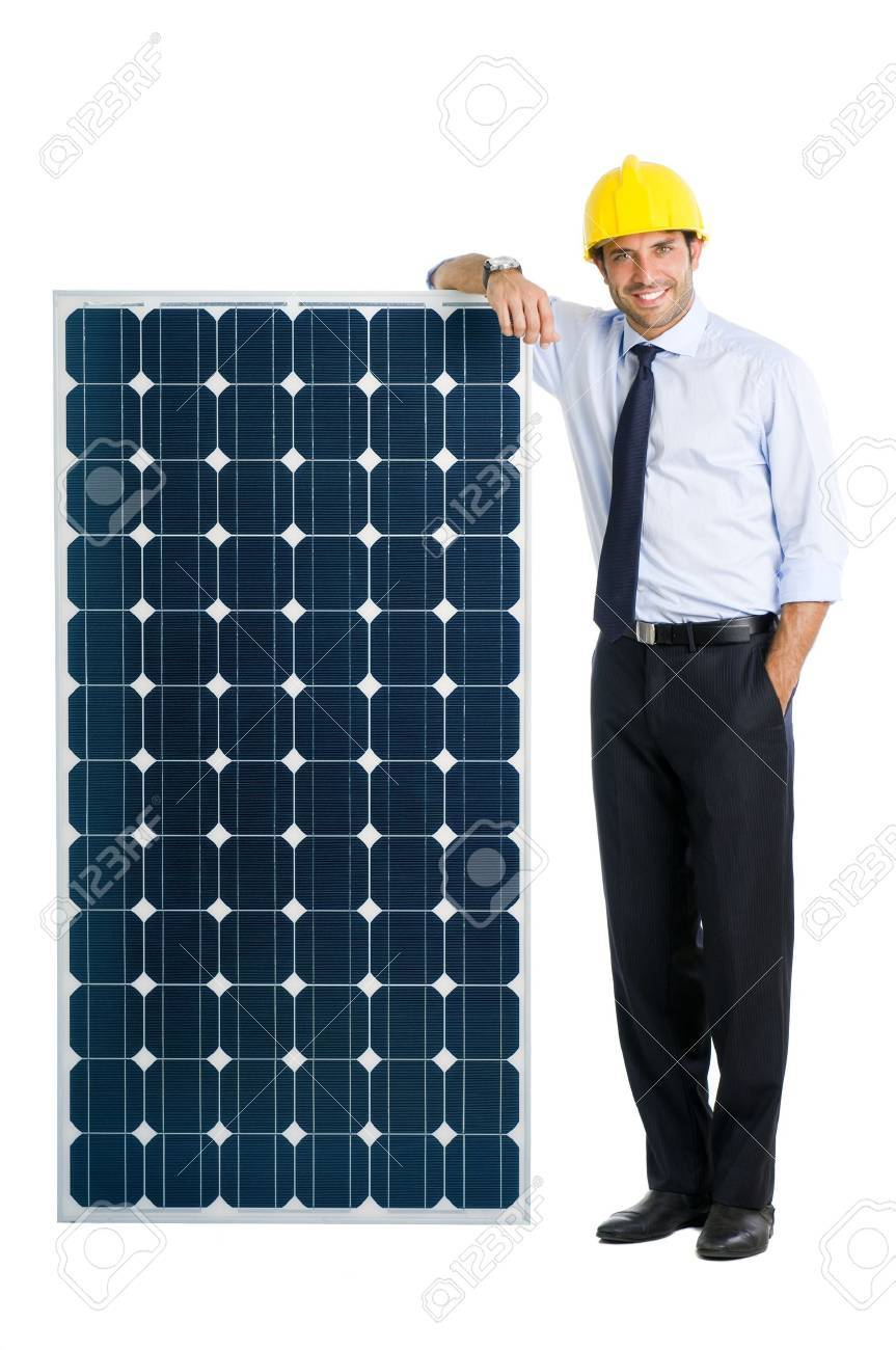 Smiling businessman showing a solar panel, symbol of green energy and good environmental business Stock Photo - 11742938